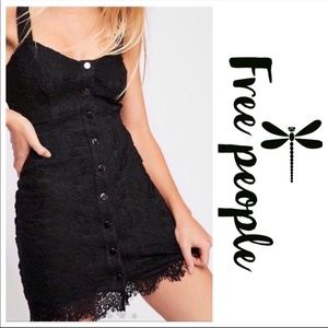 Free People Black Lace Button Front Mini Dress
